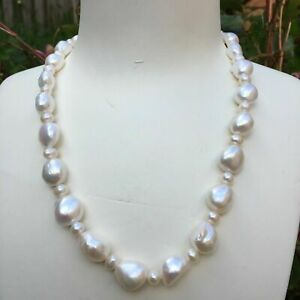 Elegant Huge 12~15mm Baroque Freshwater Pearl Necklace 45cm Natural white AAA