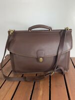 1995 COACH Beekman Vintage Brown Leather Briefcase Turn Lock Made in the United