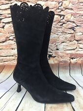MICHELLE K Black Suede Lacy Top Curved Heel Leather Boots Made in Italy 7-1/2