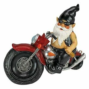 Axle Grease the Biker. Resin Garden Gnome Motorcycle Statue, 33 cm, Great Gift