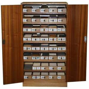 BEVAN FUNNELL WOOD SAMPLE CABINET 100'S OF TIMBER SAMPLES BURR YEW WALNUT OAK