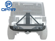 Black Rear Bumper W/Tire Carrier&D-ring Hitch Receiver 4 Jeep Wrangler JK 07-17