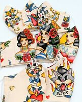 Vintage Tattoo Fabrics Face Mask 8 Options Reversible Filter Pocket