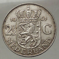 1961 Netherlands Kingdom Queen JULIANA 2½ Gulden Authentic Silver Coin i57756