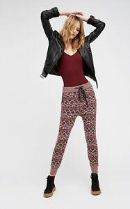 Free People Legging Mix It Up Sweater Jogger Drawstring Waist Brown Pink M NEW