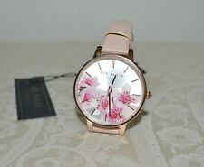 New $135 TED BAKER Women's Leather Strap KATE WATCH Pink Blossoms Rose Gold Col