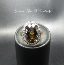 9ct Gold Smoky Quartz and Diamond Cluster Ring Size L 3.8g 6 carats