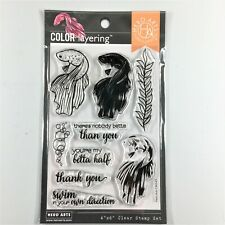 Hero Arts Color Layering Betta Fish Clear Stamp Set Bubbles Plant Phrases
