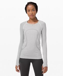 NWT auth lululemon Swiftly Tech Long Sleeve Shirt 2.0 in Black/White Size 8