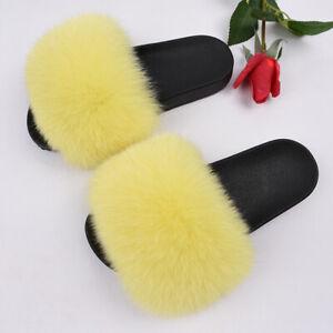 Fur Slippers Real Fox Fur Slide Women Fluffy Flip Flop High Quality Sandal66018B