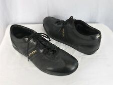 PRADA Mens Black Leather Nylon Lace-Up Sneakers Shoes SZ 8.5 Made In Italy
