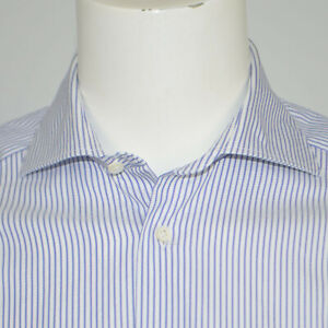 SUITSUPPLY Egyptian Cotton White Blue Striped Dress Shirt Sz 15.5 34/35