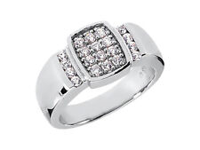 Solid 18k White Gold G Si1 Prong Genuine 0.60Ct Round Cut Mens Wedding Band Ring