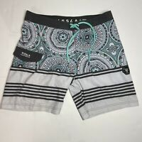 Vissla Mens Suicide Reef Board Shorts Size 33 Turquoise Grey White Coconut