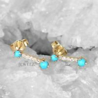 14K Gold Genuine Diamond And Turquoise December Birthstone Bar Studs Earrings