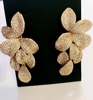 Nina Womens Dangling Cubic Zirconia Leaf  Floral Earrings Gold Tone  $98