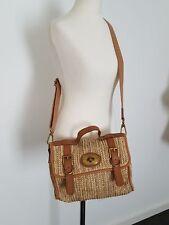 Fossil Damentasche Beuteltasche Crossbody Sisal + Echtleder Beige Cognac Tasche