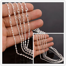 5x Women Men 925 Silver Filled Charm Water Wave Chain Rope 2mm Necklace 16-30'