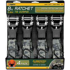 4 Pc 8' Camo Ratchet Tie Down Strap Cargo Tow Ratcheting Camouflage Heavy Duty