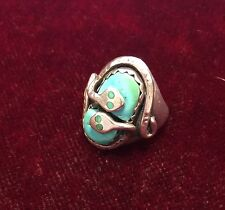 925 Sterling Silver Men's Blue Turquoise Snake Ring by Zuni