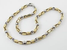 "14K Yellow And White Gold Ball Bar Link Chain 24""  62 grams"