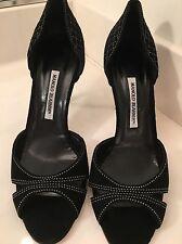 Manolo Blahnik Black Suede Open Toe Pumps/Shoes Sz 41 Italy