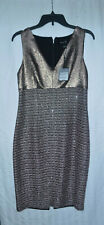 St. John Twisted Sequin Knit V-Neck Dress in Rose Gold Size 4 - NWT