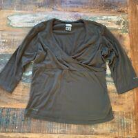 Columbia Sportswear Titanium Women's Faux Wrap Surplice Top Brown Size Large