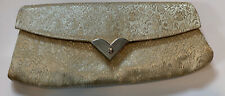 Vtg Ivory Gold Fabric Clutch Purse 1950s/60s BRITEMODE Brocade Evening Tapestry