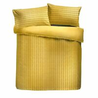 RUCHED PINTUCK STRIPES OCHRE GOLD COTTON BLEND KING SIZE DUVET COVER