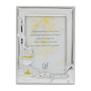 Portafoto Prima Comunione cm 9x13 in Argento PVD con Glitter Oro e Zirconi Bianc