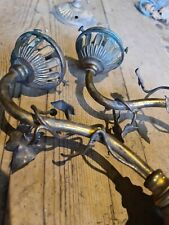 More details for pair victorian brass wall light with ivy leaf pattern