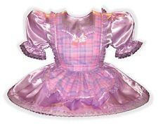 """Stacey"" Custom Fit SATIN & GLITTER PLAID Adult LG Baby Sissy Dress LEANNE"