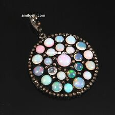 925 Sterling Silver Ethiopian Opal Natural Pave Diamond Pendant Jewelry 704
