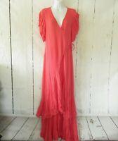 New YFB Young Fabulous & Broke Wrap Long Maxi Dress Pink S Small