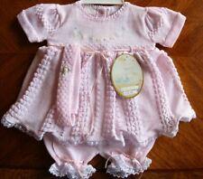 Will'beth Baby Girl Newborn Reborn Fancy Pink Knit Set Headband Lace Sz 0 NWT