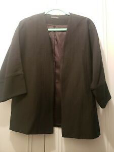 NEW WITHOUT TAGS EILEEN FISHER Black 3/4 Sleeve Cotton Blend Open Jacket
