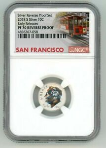 2018 S SILVER ROOSEVELT DIME 10C REVERSE NGC PF 70 EARLY RELEASES TROLLEY N96