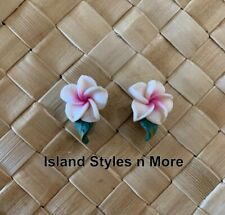 "Hawaiian Plumeria Flower Fimo Fashion Jewelry Post Earring WHITE PINK 0.5"" inch"