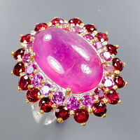 Ruby Ring Silver 925 Sterling Sweet Color AA 20ct+ Size 7.75 /R136573