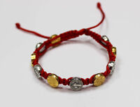 St. Benedict Red Cord Bracelet with Gold and Silver Medals Handmade Medjugorje