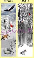 WINTER Scene BOOKMARK Book Snow ART Eagle Deer Birds Fox Christmas Holiday CARD