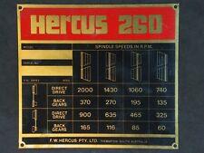 HERCUS 260 HEADSTOCK SPEED CHART  FOR METAL LATHE SPEED RANGE 60 TO 2000 RPM