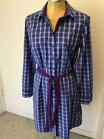 IZOD Women's Plaid Belted Sleep Shirt/Robe Long Roll-Tab Slvs Blue/White Sz. L