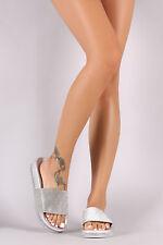 New Womens Jeweled Rhinestone Open Toe Slide Flat Sandal Shoe Flip Flops Slipper