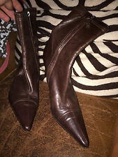 chanel CC paris france brown leather high heeled CC boots 9 EUC