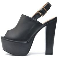Damen Sexy Absatz Schuhe Plateau Blockabsatz High Heels Sandalen Schwarz Matt