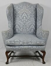 Kittinger Williamsburg Queen Anne Mahogany Wing Chairs Blue Damask Fabric CW 44