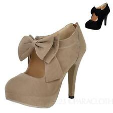 Suede High Heels Bow Celebrity Womens Lady Shoes Size 2 3 4 5 7 8 9 10 11 12 13