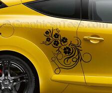 Megane custom vinyl body graphic decals 2 x fleur stickers voiture